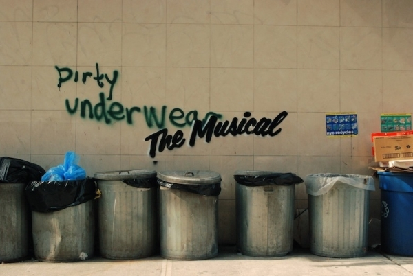 <p>&quot&#x3B;Dirty Underwear The Musical&quot&#x3B; can be found on Delancey Street in Manhattan.</p><br />(© Banksy)