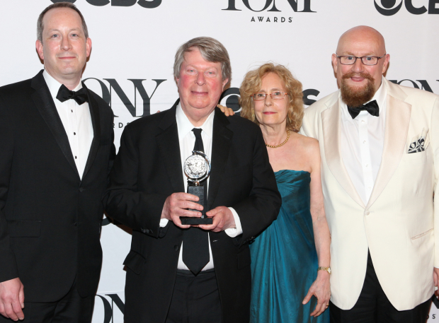 <p>André Bishop (second from left) and the producers of <em>The King and I</em> celebrate their Tony win for Best Revival of a Musical.</p><br />(© David Gordon)