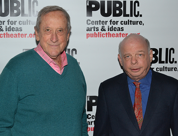 <p>Andre Gregory and Wallace Shawn pose for photos following the opening of <em>Grasses of a Thousand Colors</em>.</p><br />(© David Gordon)