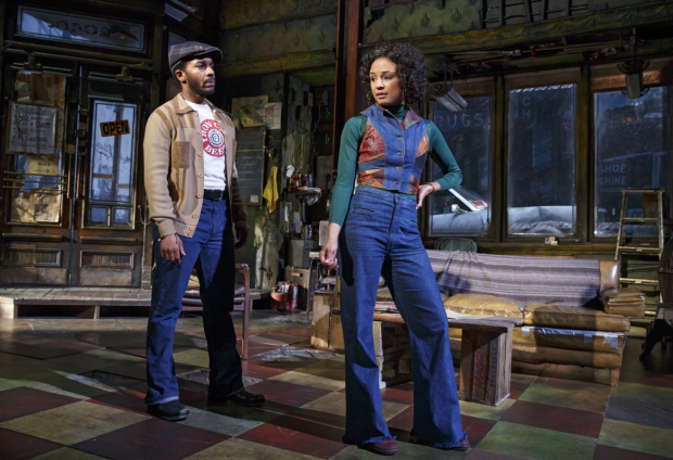 <p>André Holland as Youngblood and Carra Patterson as Rena in Manhattan Theatre Club&#39&#x3B;s <em>Jitney</em>, directed by Ruben Santiago-Hudson.</p><br />(© Joan Marcus)