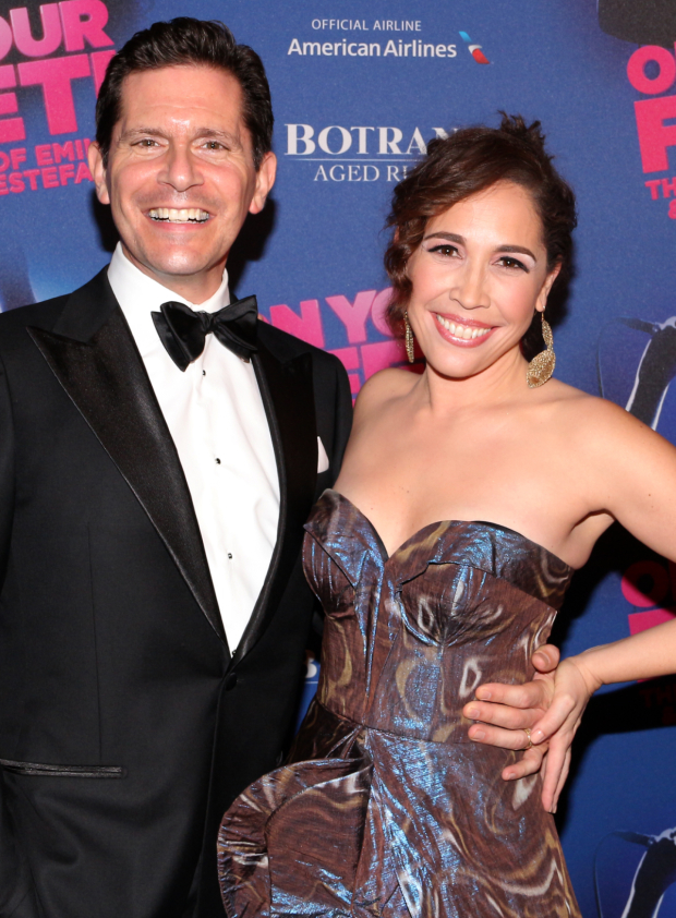 <p>Andréa Burns, who plays Gloria Estefan&#39&#x3B;s mother in the production, walks the red carpet with her husband, Peter Flynn.</p><br />(© David Gordon)
