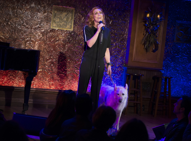 <p>Andrea McArdle sings alongside a beautiful canine named Mikey.</p><br />(© Allison Stock)