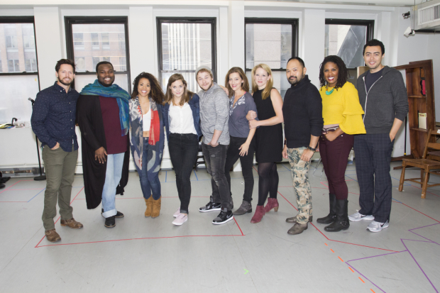 <p>Andrew Call, Juwan Crawley, Alysha Deslorieux, Erika Henningsen, F. Michael Haynie, Sandy Rustin, Molly Pope, Orville Mendoza, Christina Anthony, and Graham Stevens make up the cast of <em>Found</em>.</p><br />(© Seth Walters)