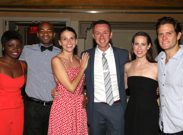 <p>Andrew Lippa (center) joins <em>Wild Party</em> stars Joaquina Kalukango, Brandon Victor Dixon, Sutton Foster, Miriam Shor, and Steven Pasquale for a family photo.</p><br />(© David Gordon)