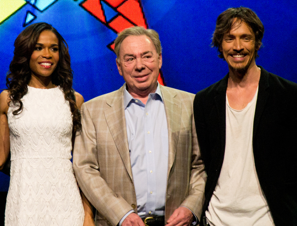 <p>Andrew Lloyd Webber joins Michelle Williams and Brandon Boyd for a photo.</p><br />(© David Gordon)