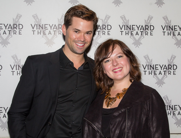 <p>Andrew Rannells gets cozy with Zuzanna Szadkowski on the red carpet.</p><br />(© Seth Walters)