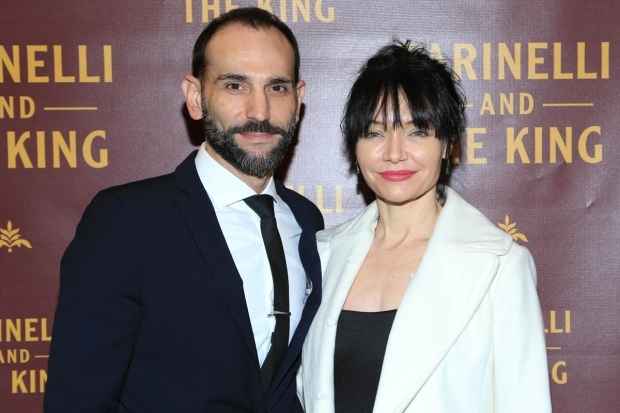 <p>Andrew Rothenberg and Katrina Lenk walked the red carpet.</p><br />(© Tricia Baron)