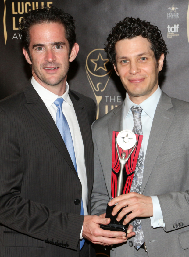 <p>Andy Blankenbuehler and Thomas Kail took home Lortel Awards for Outstanding Choreographer and Outstanding Director, respectively, for their work on <em>Hamilton</em>.</p><br />(© David Gordon)
