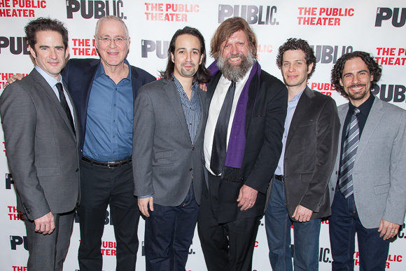 <p><em>Hamilton</em>&#39&#x3B;s creative team stops for a picture with two of its supporters: Andy Blankenbuehler (choreographer), Ron Chernow (author of &quot&#x3B;Alexander Hamilton&quot&#x3B;), Lin-Manuel Miranda, Oskar Eustis, director Thomas Kail, and orchestrator Alex Lacamoire.</p><br />(© Seth Walters)