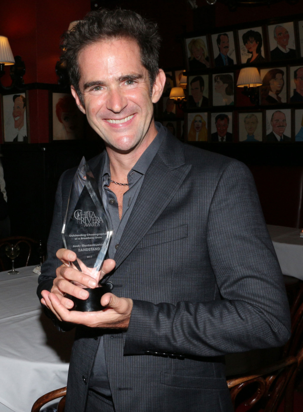 <p>Andy Blankenbuehler, Outstanding Choreography in a Broadway Show recipient for <em>Bandstand</em>.</p><br />(© David Gordon)