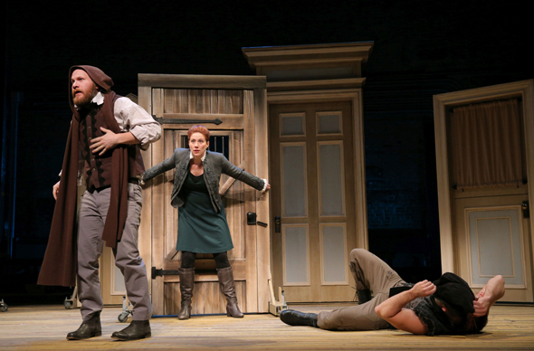 <p>Andy Grotelueschen as the disguised Duke Vincentio, Jessie Austrian as Escalus, and Noah Brody as Pompey in Fiasco Theater&#39&#x3B;s <em>Measure for Measure</em>.</p><br />(© Joan Marcus)