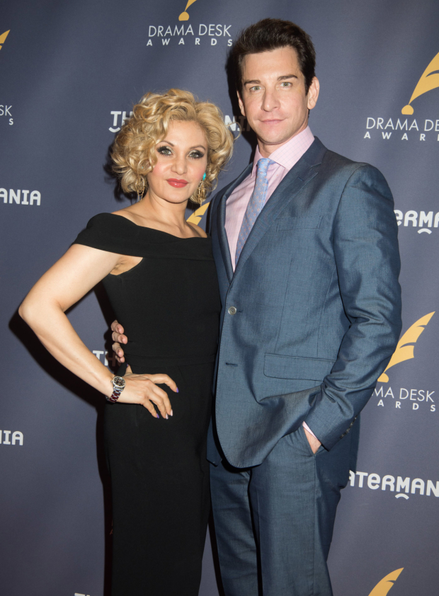 <p>Andy Karl and his wife, Orfeh, head into the Drama Desk Awards.</p><br />(© Monica Simoes)