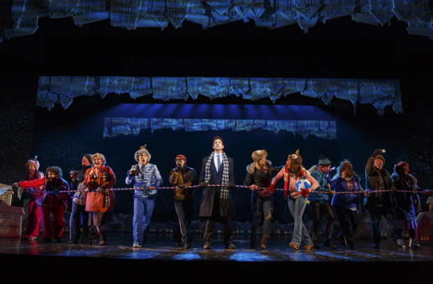 <p>Andy Karl (center) in a number from <em>Groundhog Day</em>.</p><br />(© Joan Marcus)