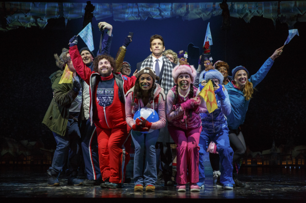 <p>Andy Karl (center) surrounded by the company of <em>Groundhog Day</em>.</p><br />(© Joan Marcus)