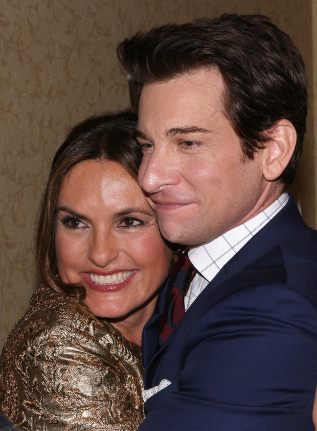 <p>Andy Karl gets a congratulatory squeeze from his <em>Law &amp&#x3B; Order: Special Victims Unit</em> costar Mariska Hargitay.</p><br />(© David Gordon)