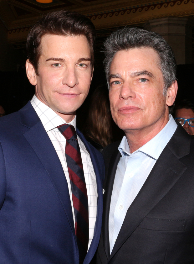 <p>Andy Karl takes a snapshot with his <em>On the Twentieth Century</em> and <em>Law &amp&#x3B; Order: Special Victims Unit</em> costar Peter Gallagher.</p><br />(© David Gordon)