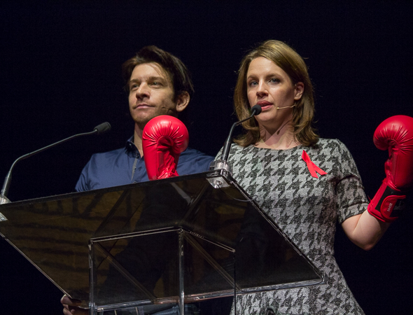 <p>Andy Karl teaches Jessie Mueller a thing or two about boxing on Broadway.</p><br />(© David Gordon)