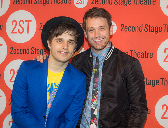 <p>Andy Mientus and Michael Arden smile for TheaterMania.</p><br />(© Seth Walters)