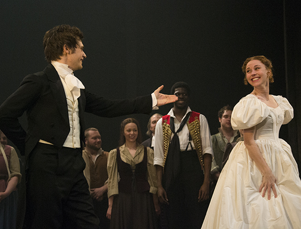 <p>Andy Mientus (Marius) and Samantha Hill (Cosette) take their bow.</p><br />(© David Gordon)