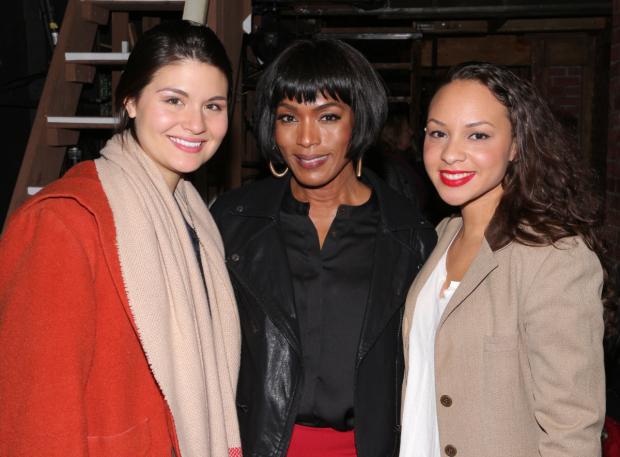 <p>Angela Bassett takes a photo with two of the production&#39&#x3B;s three Schuyler Sisters: Phillipa Soo (left) and Jasmine Cephas Jones (right).</p><br />(© David Gordon)