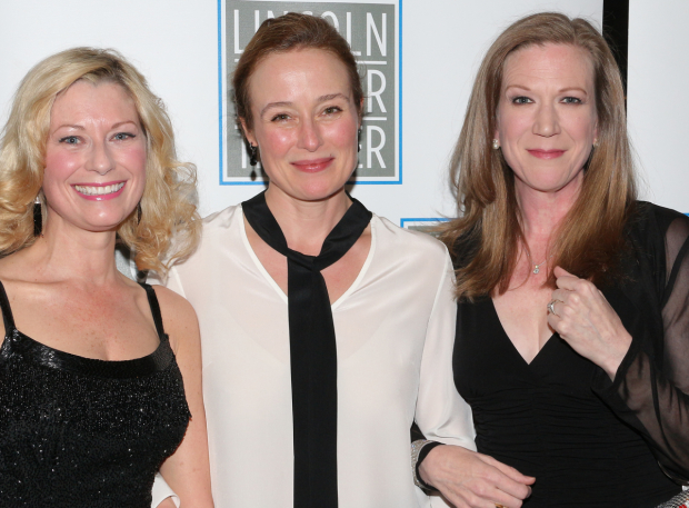<p>Angela Pierce, Jennifer Ehle, and Henny Russell are the ladies of <em>Oslo</em>.</p><br />(© David Gordon)