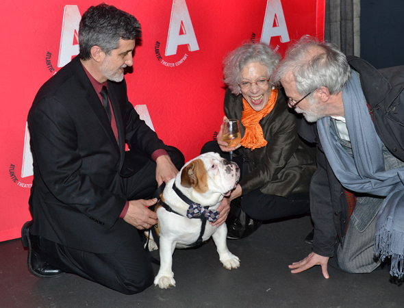 <p>Animal trainer Bill Berloni and English bulldog cast member Romeo are congratulated by director Martha Clarke and scenic designer Robert Israel.</p><br />(© David Gordon)
