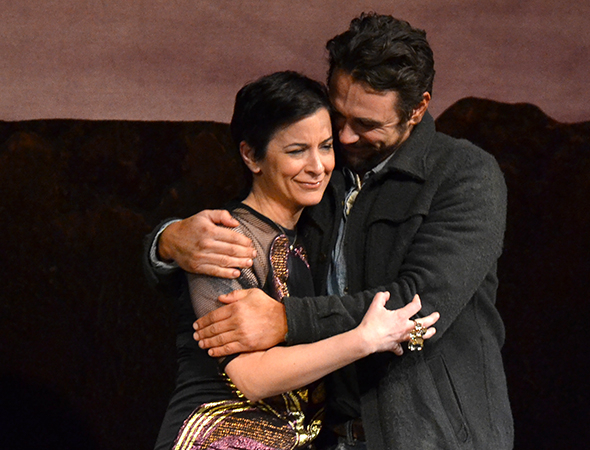 <p>Anna D. Shapiro and James Franco share a hug onstage.</p><br />(© David Gordon)