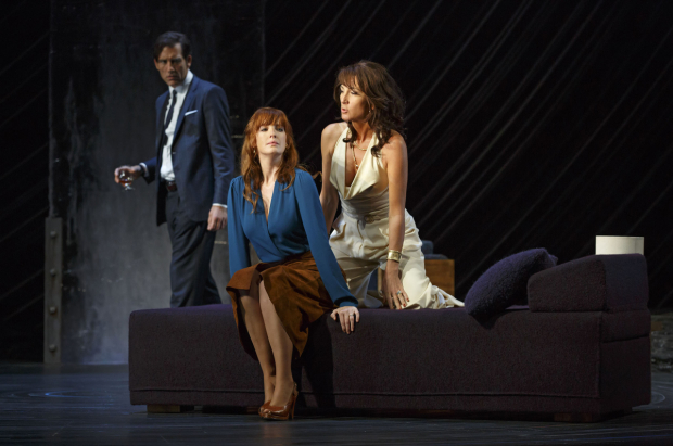 <p>Anna (Eve Best) warns Kate (Kelly Reilly) about all the dirty men in the park as Deeley (Clive Owen) looks on, clutching his brandy. </p><br />(© Joan Marcus)