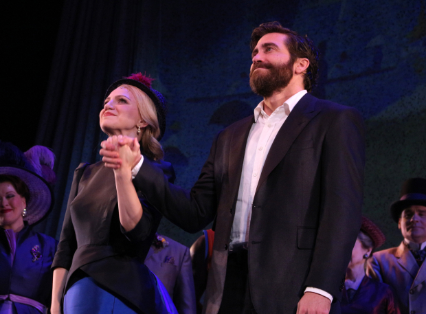 <p>Annaleigh Ashford and Jake Gyllenhaal come out for their curtain call.</p><br />(© David Gordon)