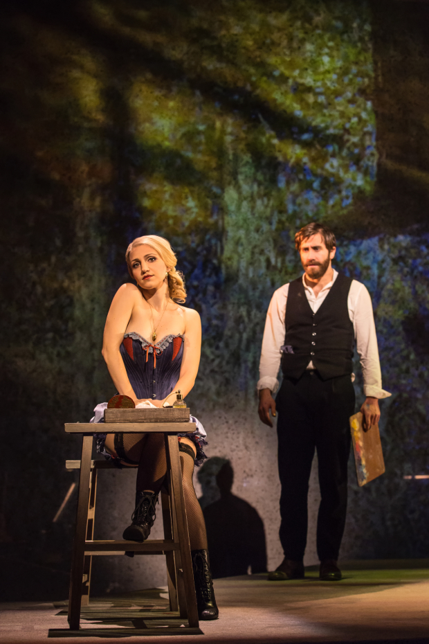 <p>Annaleigh Ashford and Jake Gyllenhaal reunite after working together on the New York City Center concert production.</p><br />(© Matthew Murphy)