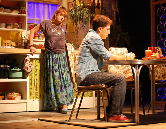 <p>Annie Golden offers Coby Getzug some sage advice.</p><br />(© TheaterMania)