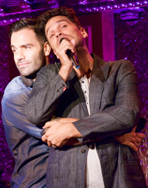 <p>Another tender moment between the Broadway bros.</p><br />(© Kristin Goehring)