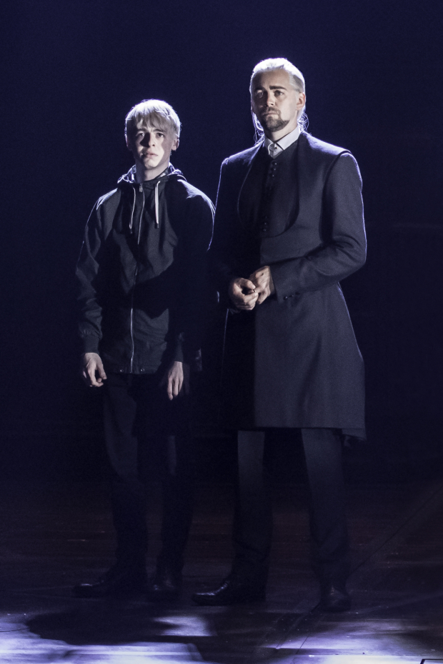 <p>Anthony Boyle as Scorpius Malfoy and Alex Price as Draco Malfoy.</p><br />(© Manuel Harlan)