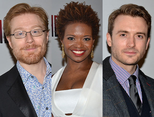 <p>Anthony Rapp, LaChanze, and James Snyder smile for the cameras.</p><br />(© David Gordon)