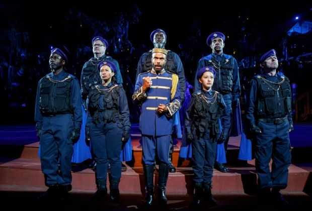 <p>Antoine Jones stands center stage.</p><br />(© Joan Marcus)