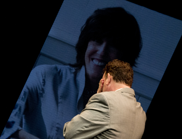 <p>April 1: Tom Hanks breaks down in tears as a portrait of his friend and longtime collaborator Nora Ephron is projected onto the stage during the opening-night curtain call of Broadway's <em>Lucky Guy</em>, one of the final pieces Ephron wrote before her death in 2012.</p><br />(© David Gordon)