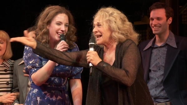 <p>April 4, 2014: Carole King sees <em>Beautiful</em> for the first time and surprises Mueller and the cast onstage with an impromptu performance.</p><br />(photo courtesy of the production)