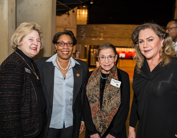 <p>Arena Stage Board Chair Beth Newburger Schwartz, Congresswoman Marcia L. Fudge, Justice Ruth Bader Ginsburg, and Kathleen Turner at the opening-night celebration.</p><br />(© Cameron Whitman Photography)