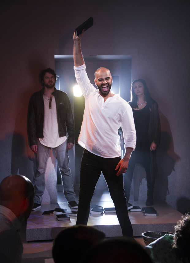 <p>Ari McKay Wilford, Nicholas Edwards, and Natascia Diaz in a scene from <em>Jesus Christ Superstar</em>.</p><br />(© Colin Hovde)