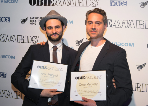 <p>Arian Moayed and Omar Metwally, Obie winners for <em>Guards at the Taj</em>.</p><br />(© Allison Stock)