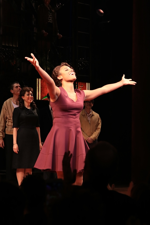 <p>Ariana DeBose, who plays Jane in the musical, takes the stage for her opening-night curtain call.</p><br />(© Tricia Baron)