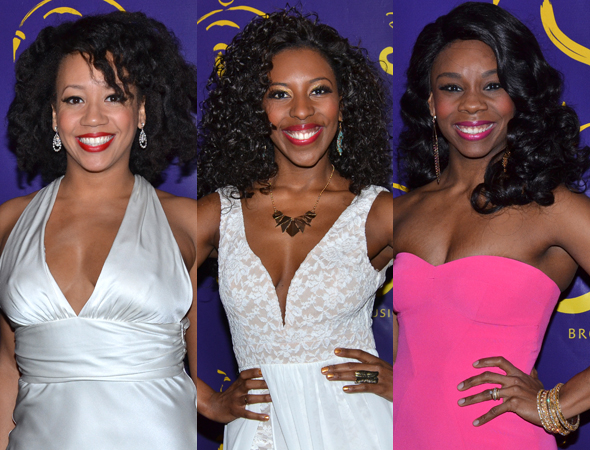 <p>Ariel Reid, Daisy Hobbs, and Khori Michelle Petinaud are among the ladies of the <em>Aladdin</em> cast.</p><br />(© David Gordon)