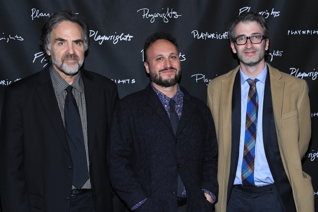 <p>Artistic director Tim Sanford, playwright Dan LeFranc, and director Daniel Aukin celebrate their opening night.</p><br />(© Tricia Baron)