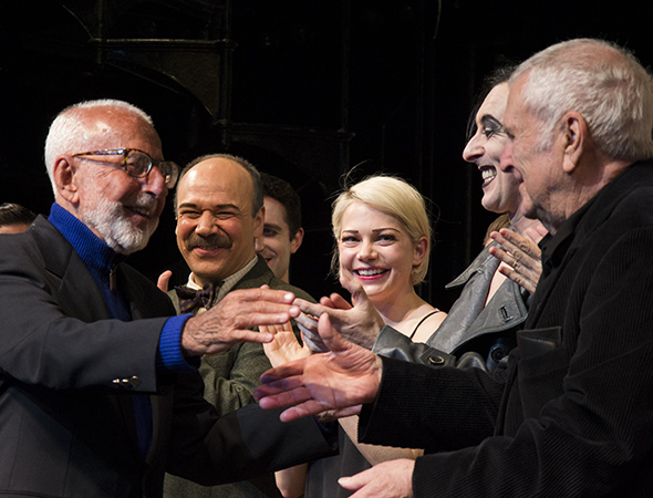 <p>As Danny Burstein, Michelle Williams, and Alan Cumming look on, <em>Cabaret</em> book writer Joe Masteroff (left) takes the stage with composer John Kander (right).</p><br />(© David Gordon)