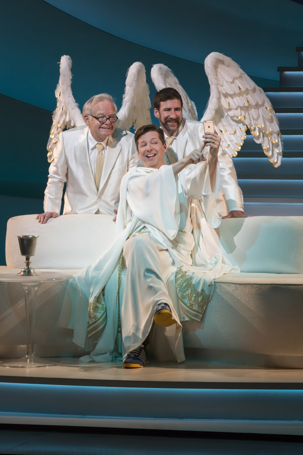 <p>As God and his angels, James Gleason, Sean Hayes, and David Josefsberg take a selfie.</p><br />(© Jim Cox)