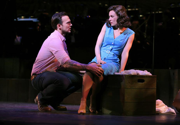 <p>As handsome farm foreman Joe, Cheyenne Jackson woos Rosabella (Laura Benanti) for his boss.</p><br />(© Joan Marcus)