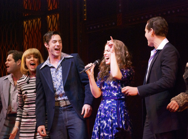 <p>As her fellow cast members look on, Chilina Kennedy goes for a high note in a Carole King sing-along.</p><br />(© Kristin Goehring)