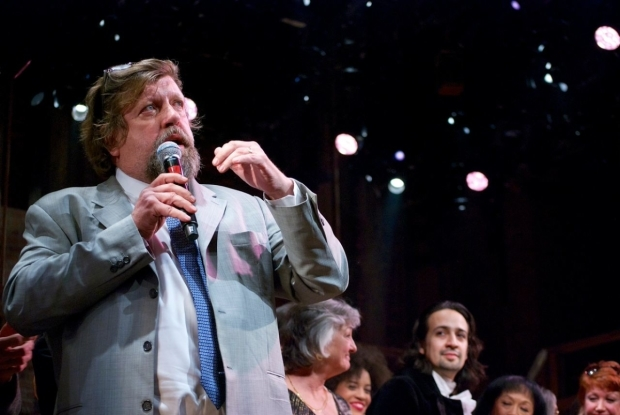 <p>As Lin-Manuel looks on, Public Theater artistic director Oskar Eustis discusses the importance of <em>A Chorus Line</em>.</p><br />(© Kristin Goehring)