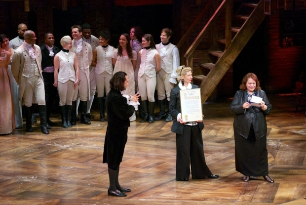 <p>As Lin-Manuel Miranda looks on, representatives from New York City declare April 16 &quot&#x3B;<em>A Chorus Line</em> Day.&quot&#x3B;</p><br />(© Kristin Goehring)