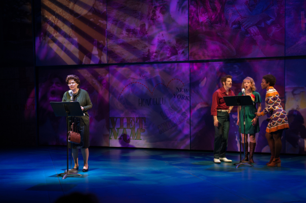 <p>As Mrs. Elva Miller, Debra Monk is supported vocally by Jacob ben Widmar as Bobby Sherin, Kaitlyn Davidson as Carol Sue Singleton, and Kimberly Marable as Denise Banfield.</p><br />(© Margot Schulman)